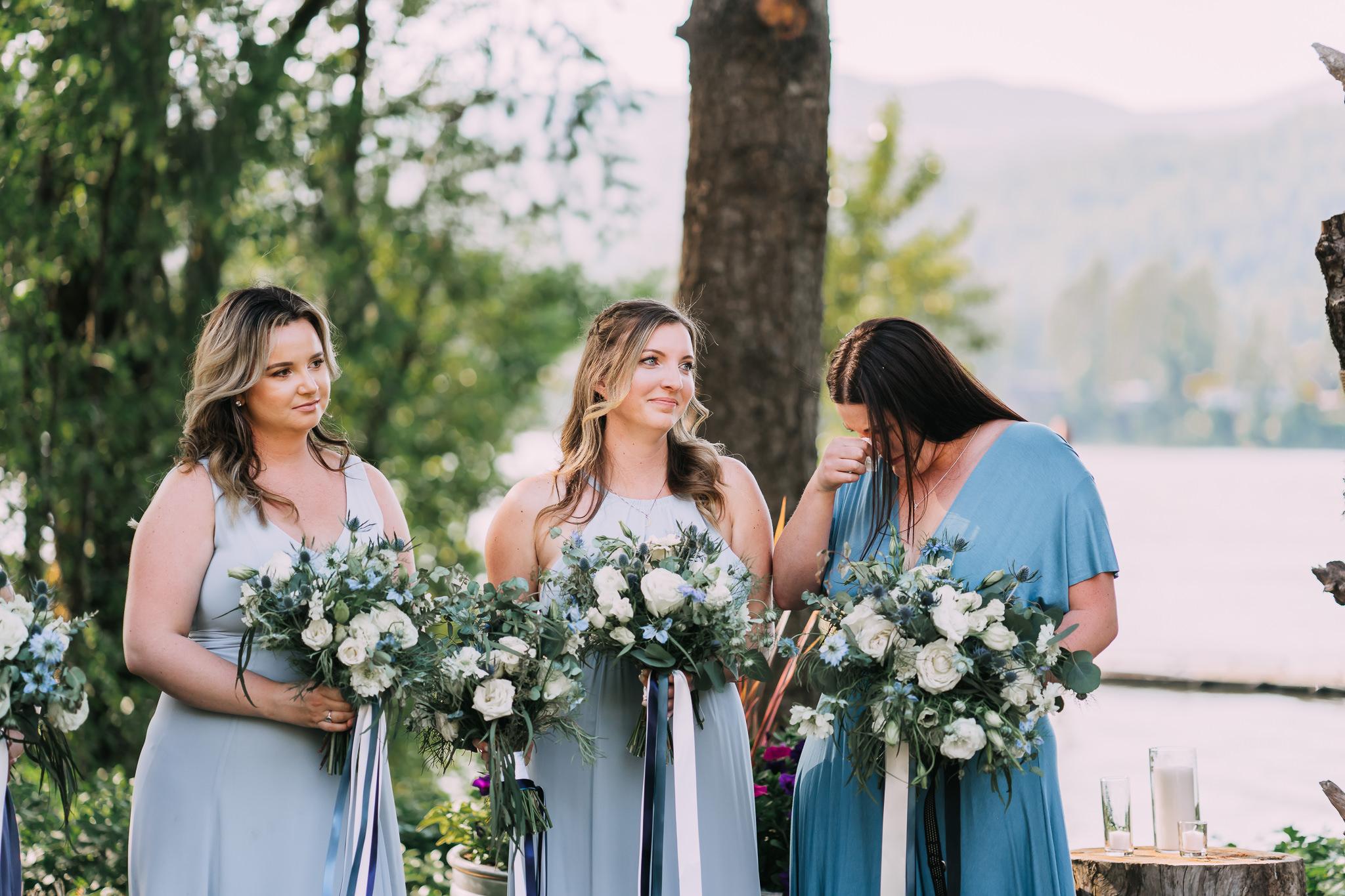 Bridesmaid crying ceremony Portland Wedding Photographer best of Cascade Locks