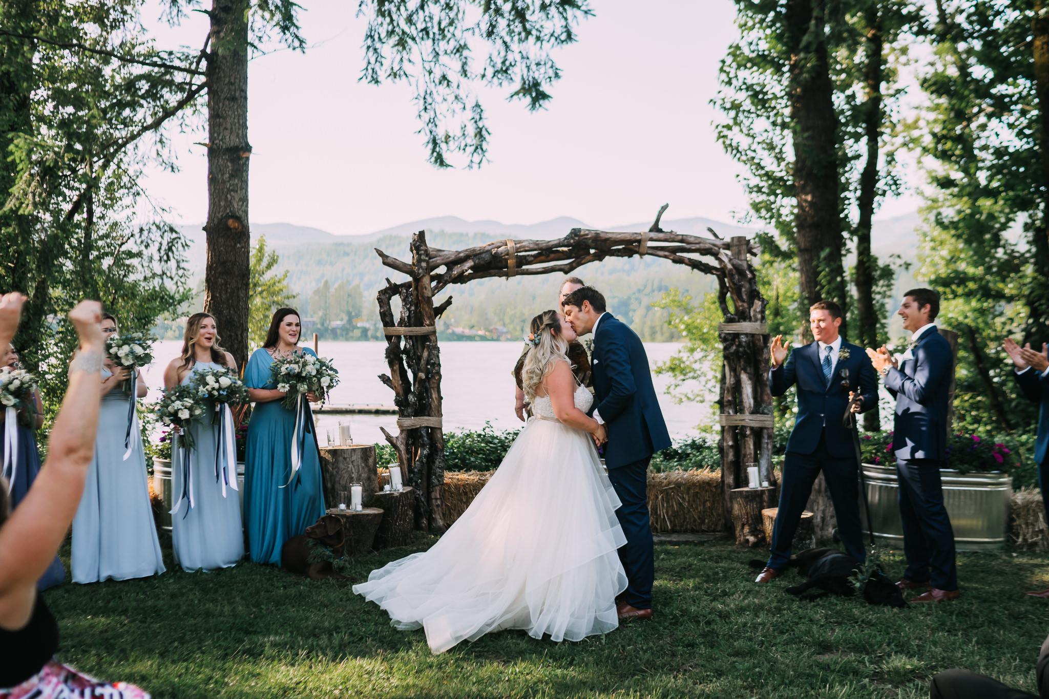 First Kiss backyard wedding photographer Alfred Tang Portland Best of wedding Alter First Kiss