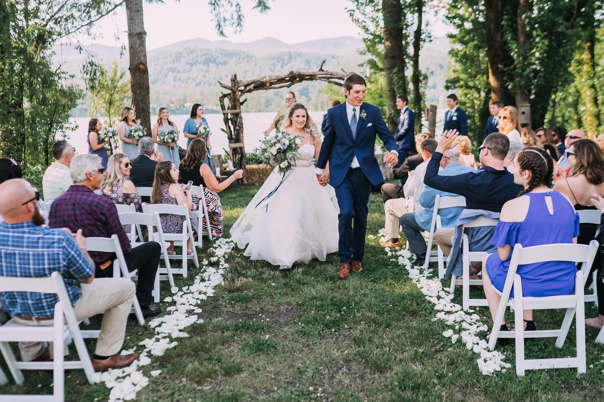 Bride Groom walk down aisle backyard wedding photography Mt Hood River Gorge Wedding Photographer
