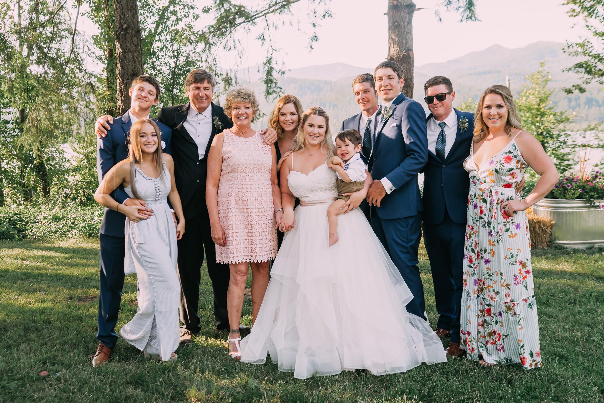 Bride family group formal wedding photo Portland Oregon