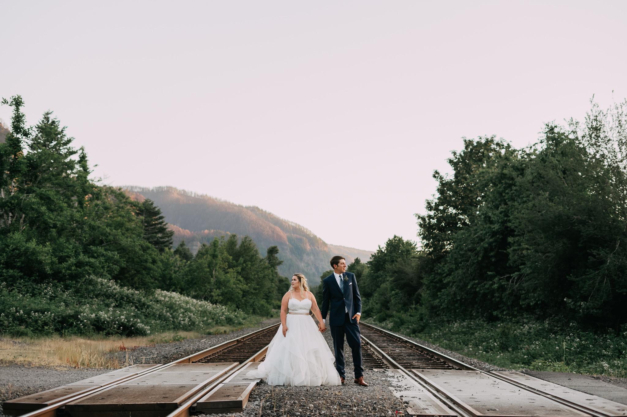 Wedding Photographer train track amateur wedding photography no-no Portland Oregon fish hatchery Cascade Locks
