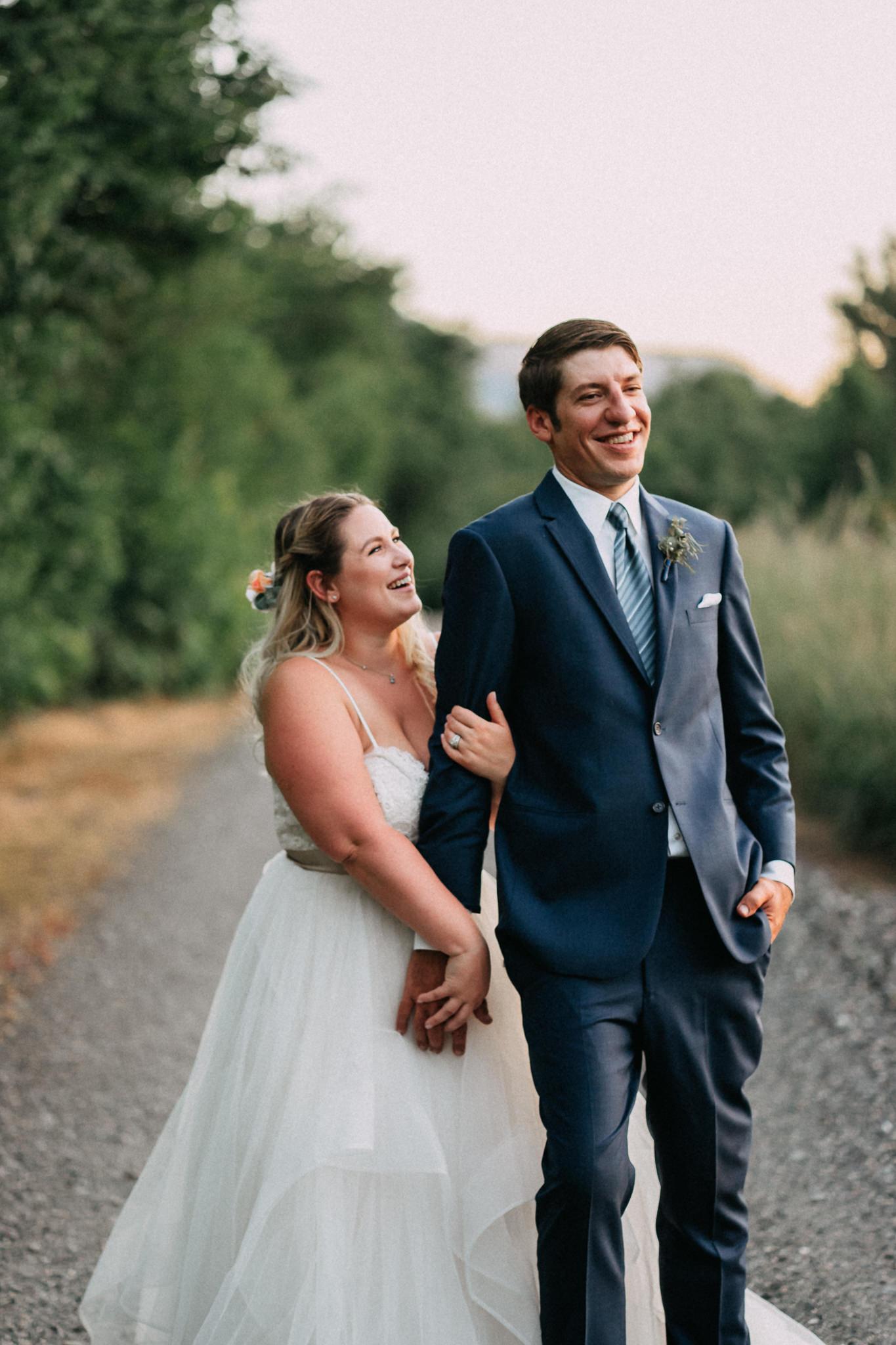 Bride Groom Formal Portrait unposed Candid Portland Wedding Cascade Locks