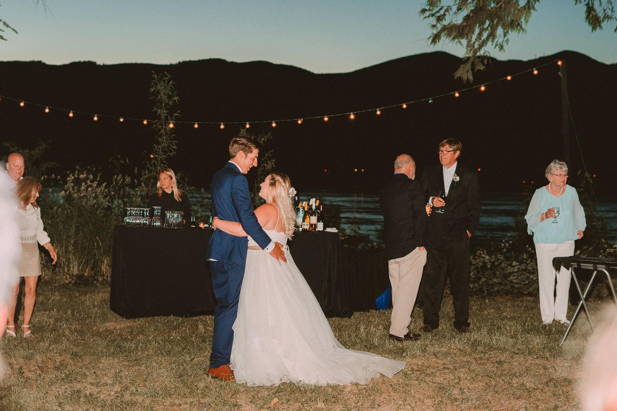 Bride Groom outdoor First Dance Columbia River Gorge Backyard wedding