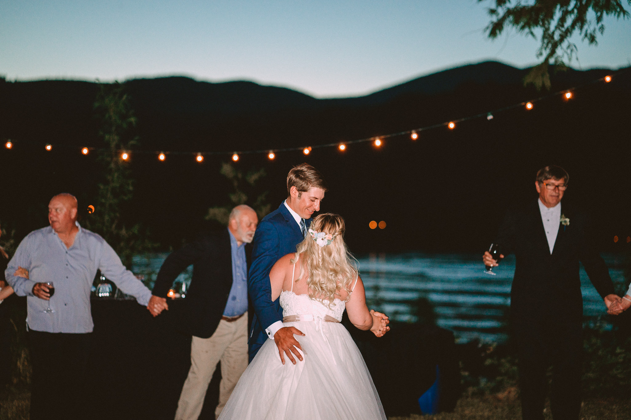 String lights outdoor backyard Oregon Wedding Columbia River Gorge