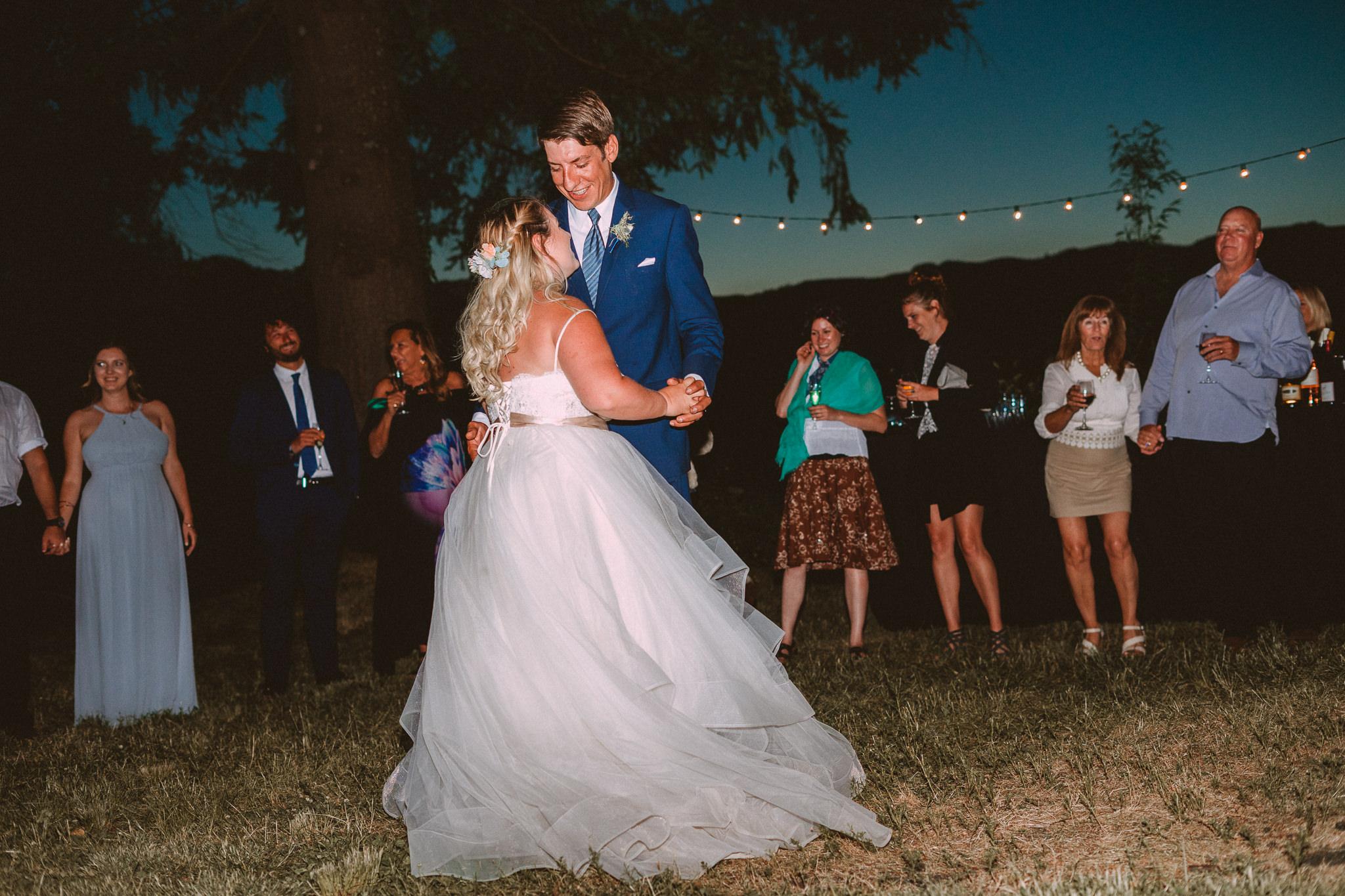 Night Bride Groom outdoor First Dance Fish Hatchery Columbia River Backyard wedding Cascade Locks