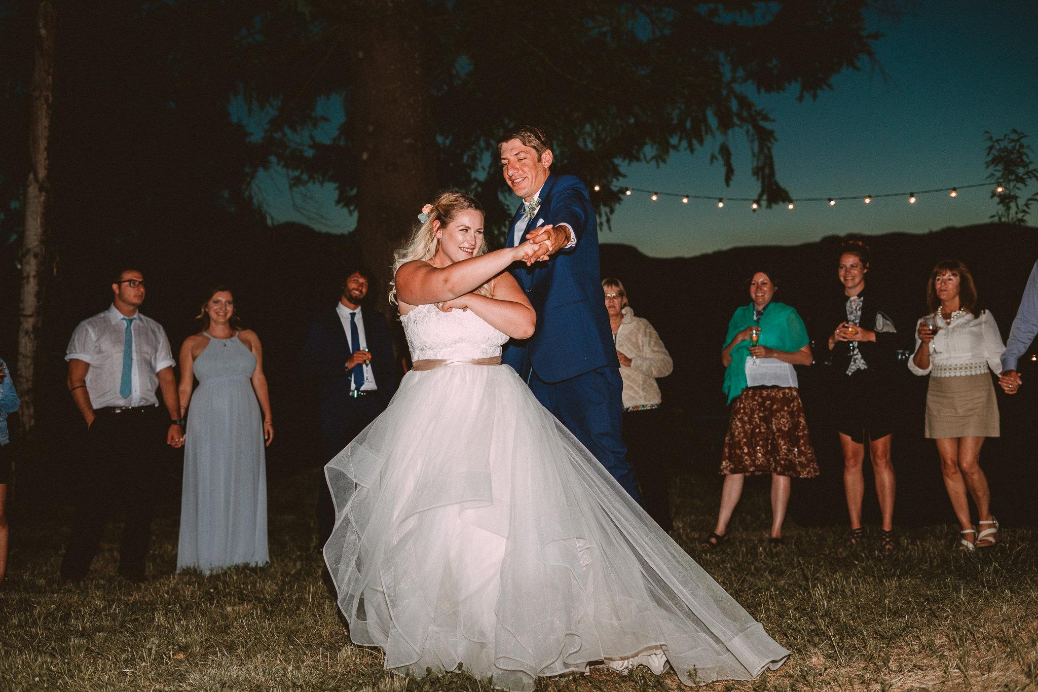 Bride Groom twirl outdoor First Dance Columbia Gorge Backyard wedding