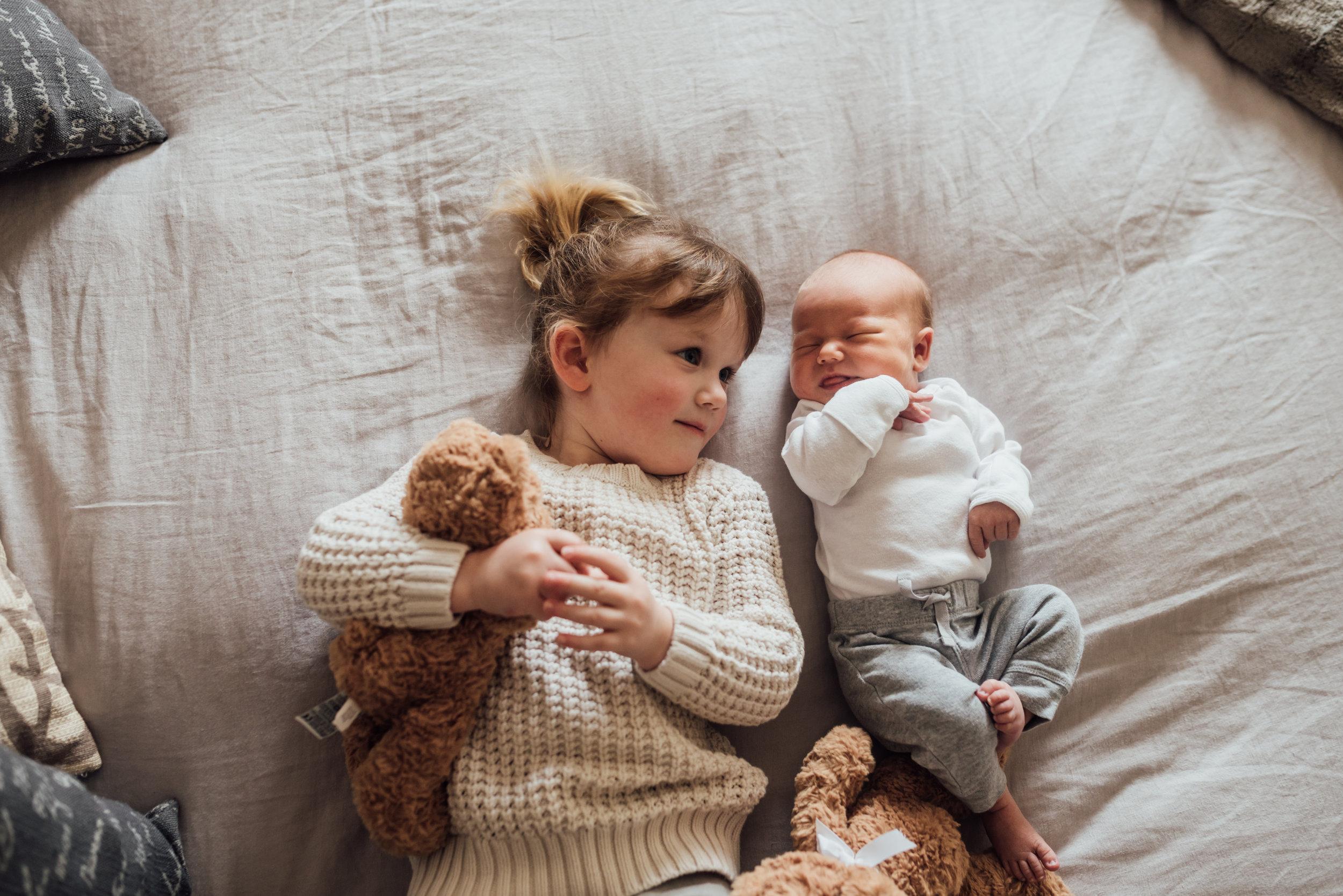 Beamsville at home newborn photography siblings