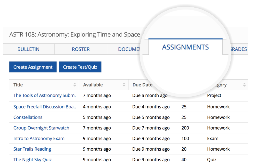 Assignments - Put your homework, tests, quizzes and any action item for your class in a digital syllabus organized by dates. Connected to your calendar and all classes sync together. Making it easy for students to stay on top of all work and keep it nice and tidy for management.