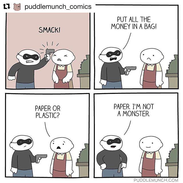 #sundaycomic #refusesingleuse 😂#planetorplastic #strawsfilm #plasticpollutes #banplasticbags 🌊  Repost @puddlemunch_comics