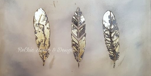 Three Feather Painting with Gold Leaf