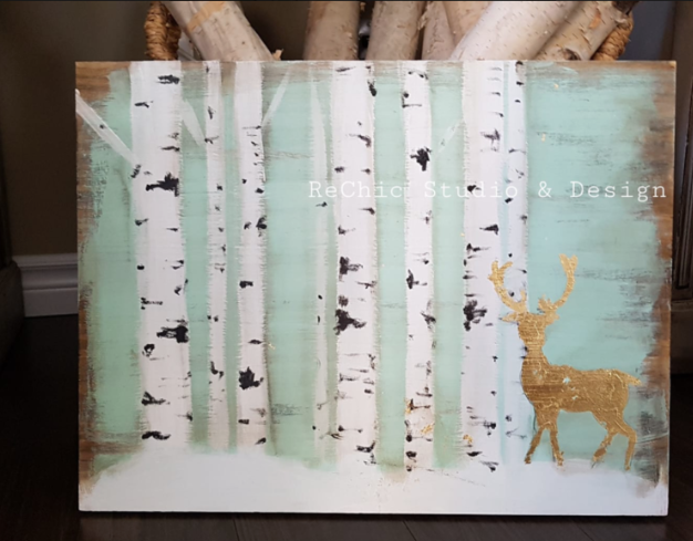 Birch Bark and Gold leaf Stag Painting