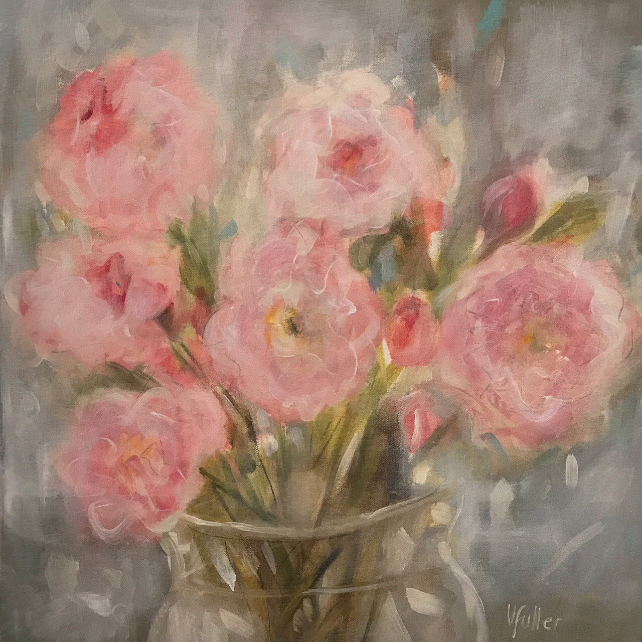 Pink Peonies 24 x 24 Sold