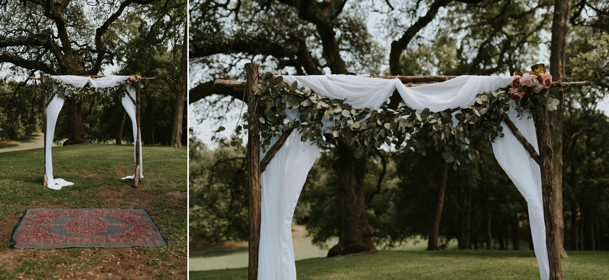 Intimate-Cathedral-Oaks-Wedding-Green-Oak-Forest-Floral-Archway-Kerlyn-Van-Gelder-Photography-Austin-Wedding-Photographer