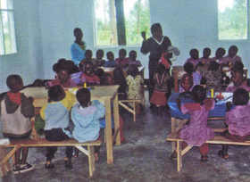 """2012 - """"nursery"""" class taking place in one of the painted and decorated classrooms"""