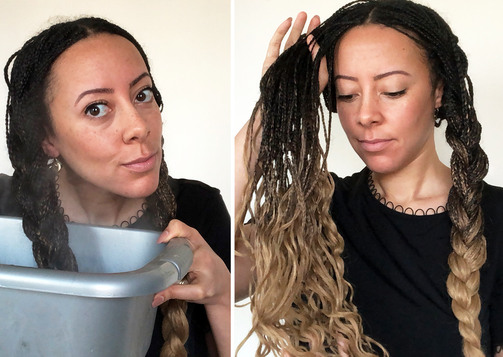 Dunk the two big braids into boiling water (be careful). Pat dry then undo and the waves will stay.
