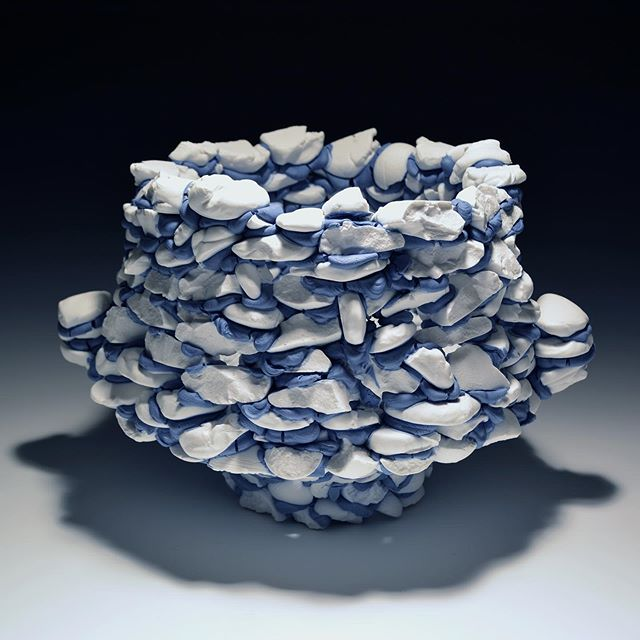 "This piece is comprised of (mostly) glaze chunks, fired and refused into a large bowl form. Cate McQuaid from the Boston Globe wrote, ""Here, what's usually on the surface transmutes into the very substance of the object."" Yes!! . This piece along with the rest of the show is on view @harvardceramics through the 27th of September! #harvardceramics #art #ceramics #boston #ma #bostonglobe #harvard #artistresidency #contemporaryceramics #glaze #glass #porcelain #cremerging #dotdotdot #someassemblyrequired"