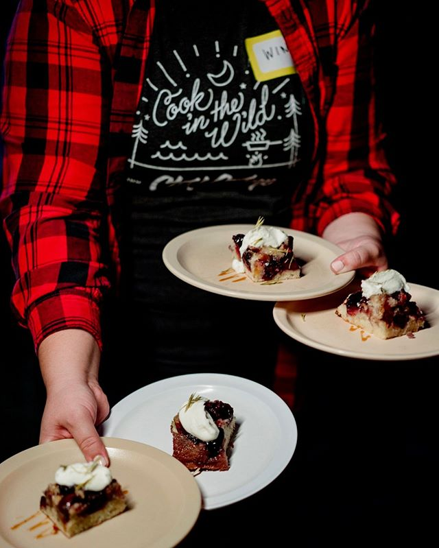 For the first time at Camp, we had a pastry chef crafting our dessert program. Jo Garrison from @boroughmpls and @pssteak created the most delicious desserts inspired by Northwoods flavors. This Cherry Upside Down Cake featured spruce tips, caramel and whipped crème fraîche. #chefcamp #cookinthewild⁠ .⁠ .⁠ .⁠ .⁠ .⁠ #huffposttaste #feedfeed #lifeandthyme #f52grams #thekitchn #themidwestival #onlyinmn  #bareaders #ourcamplife #mnfoodfeatures #capturemn  #midwestmoment  #nytfood  #minnstagrammers #foodandwine #beautifulcuisines #tastingtable  #thegoodeats #exploremn #thisismyminnesota #forkyeah #saveurmag #mplsfoodie #foodieapolis #eatdrinkdishmpls