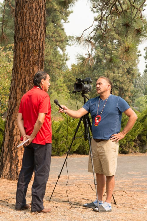 Namesake Freddy Lane (right) interviewing for the Totem Pole Journey in 2015.