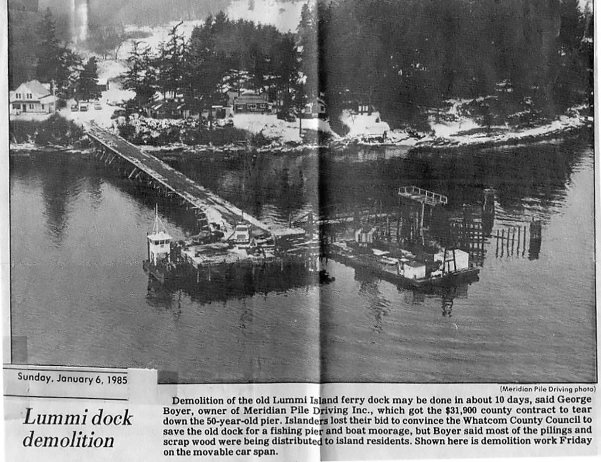 The old dock at Beach Store Cafe is finally demolished in 1985. — Bellingham Herald