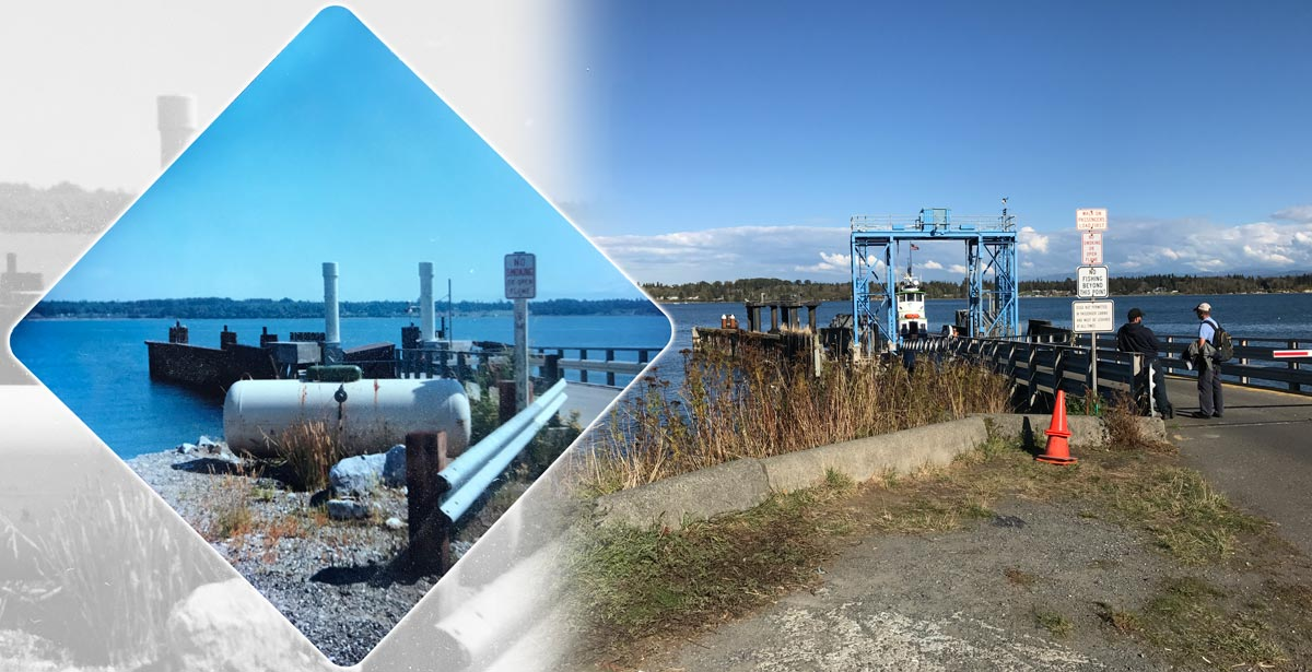 Lummi Island ferry dock circa 1980 (left) and present day (right)