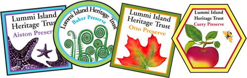 Patches for each of the preserves on Lummi Island
