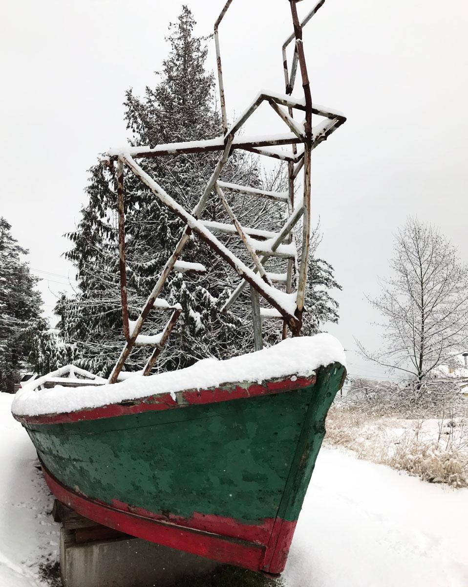 Reefnet boat at the Grange Hall