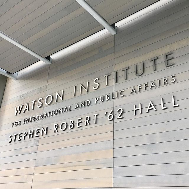 Our design for the upcoming Watson Institute's Stephen Robert '62 Hall just installed! #design #graphicdesign #environmentalgraphics #environmentalgraphicdesign #signsandwayfinding #watsoninstitute #brownuniversity #toshikomori #malcolmgreardesigners