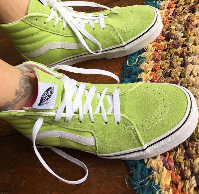 Love my new kicks! And yes I have a thing for shoes 😜#vans #sneakers #lime green #inthestudio