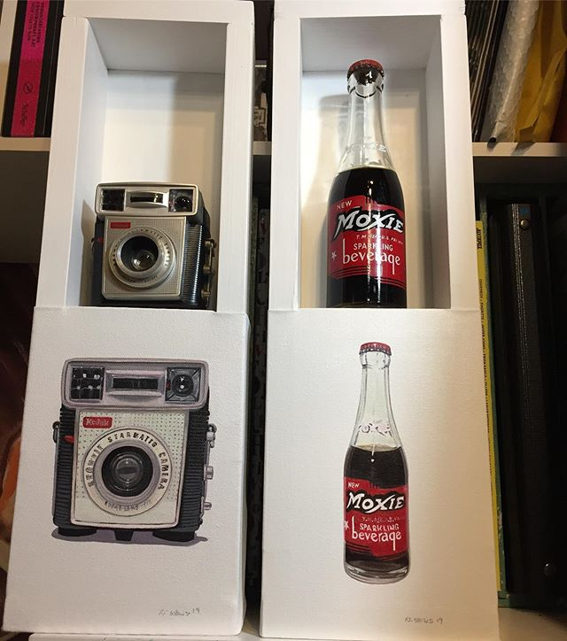 2 more! @thewrightgallery #oulpainting #vintage items #moxie #vintage camera