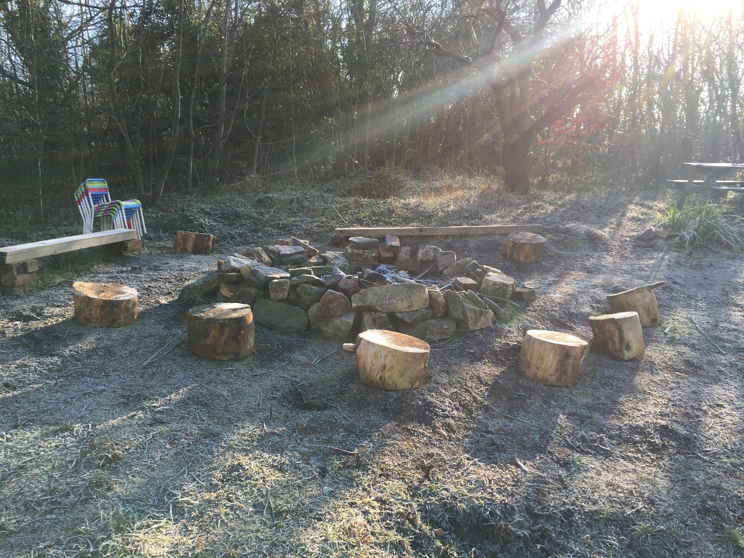 Fire pit in the winter sunshine
