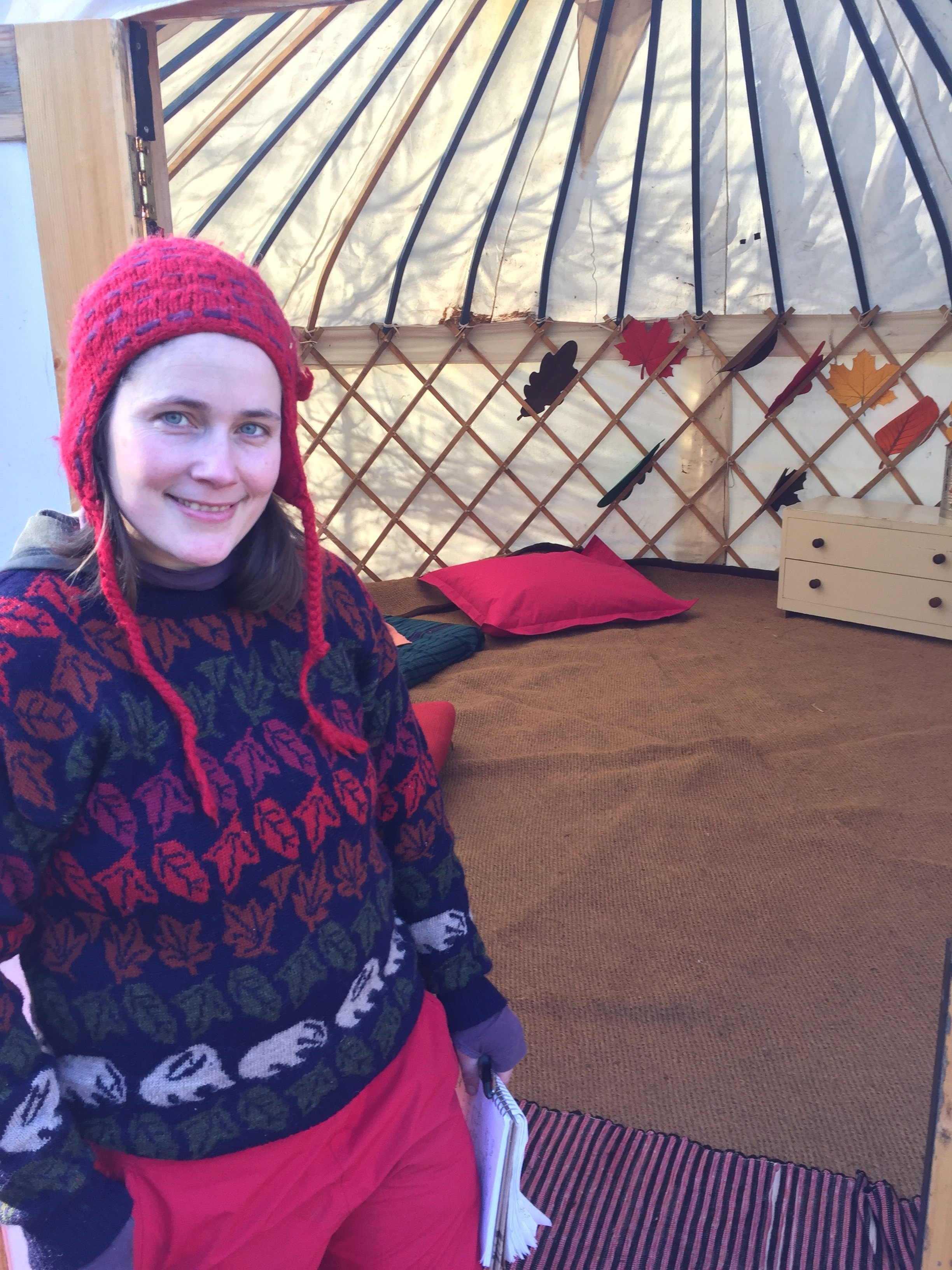 Emma's relief that the yurt is actually ready!