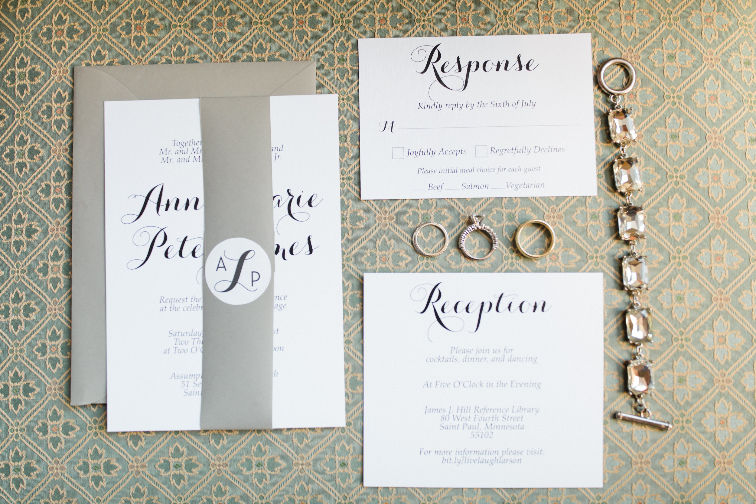 Vendors: Photography: Gina Zeidler | Planner: The Simply Elegant Group, Emily | Ceremony Venue: Church of the Assumption | Reception Venue: James J. Hill Center Library | Hair: Studio 411 | Makeup: Primped | Dress: Posh Bridal Couture | Invites: The Making 89 | Floral: Grace Klein Designs | Designs/Linens: Linen Effects | Caterer: Deco Catering | Cake: Sweet Retreat | Music: Sabby White & The Big 10 | Transportation: Renee's Royal Valet
