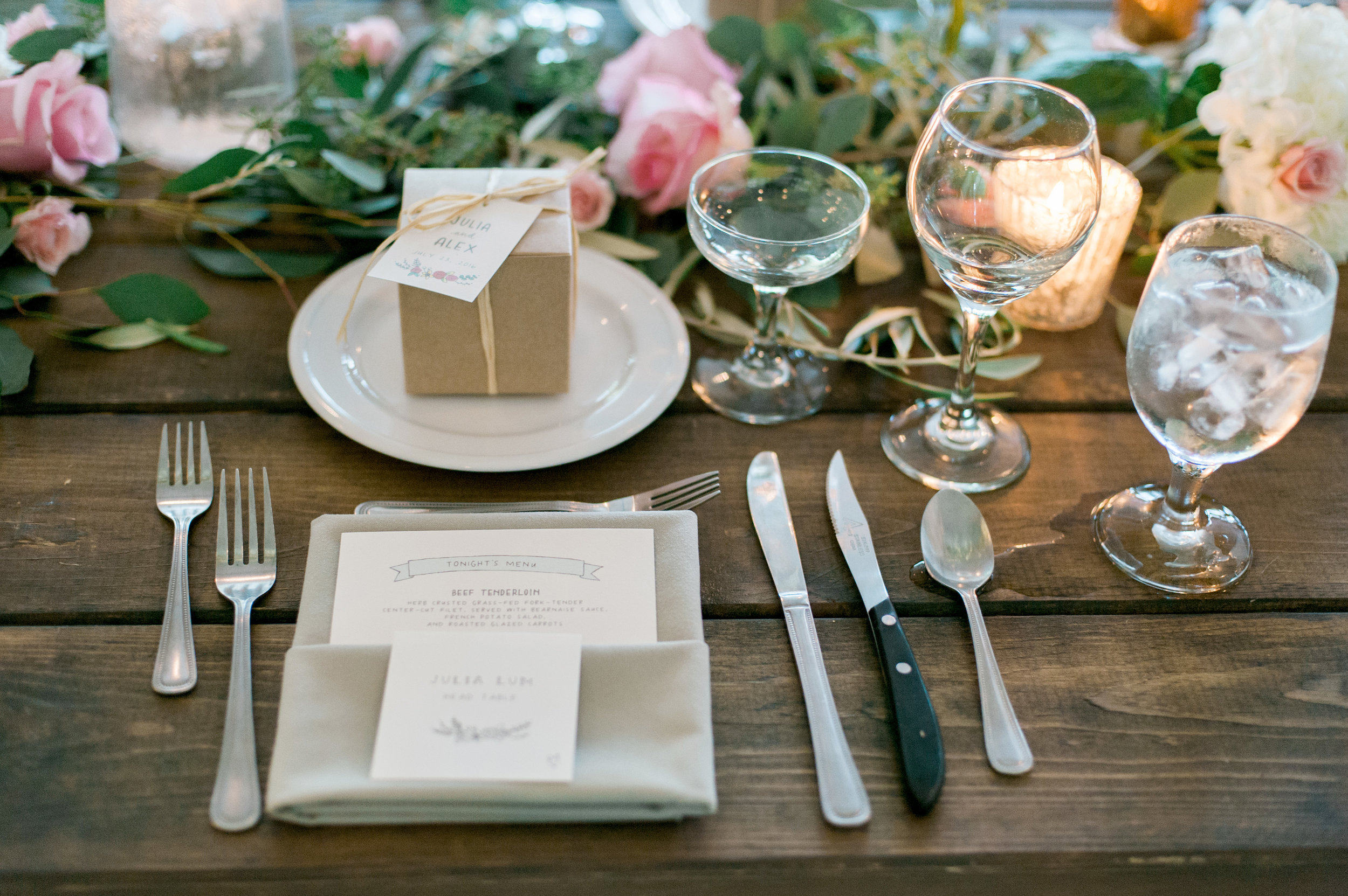 Venue & Flowers: Camrose Hill Flower Farm   Photography: Emily Steffen Photography   Videography: Sunset Blue Productions   Hair/Makeup: Hayley Sachs Artistry   Stationery:  Printerette Press   Catering: Chowgirls Killer Catering   Bartending: With a Twist   Dessert: Pattiserie 46 and Buttercream Bakery   Coffee: Coffee Cart   Ceremony Music: Loring String Quartet   Reception Entertainment: Adagio   Rentals: Ultimate Events   Gown: Allure Bridals, Our Shop
