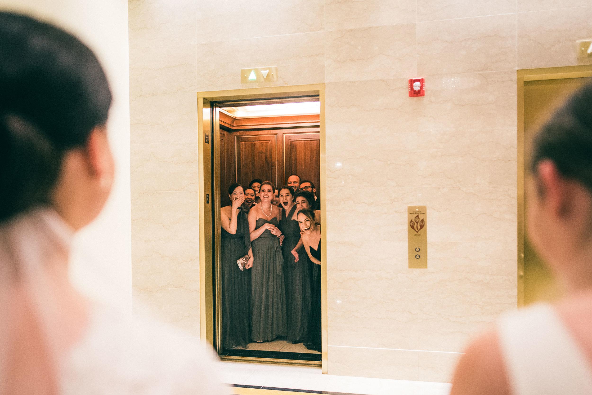 Bridesmaids first look at brides