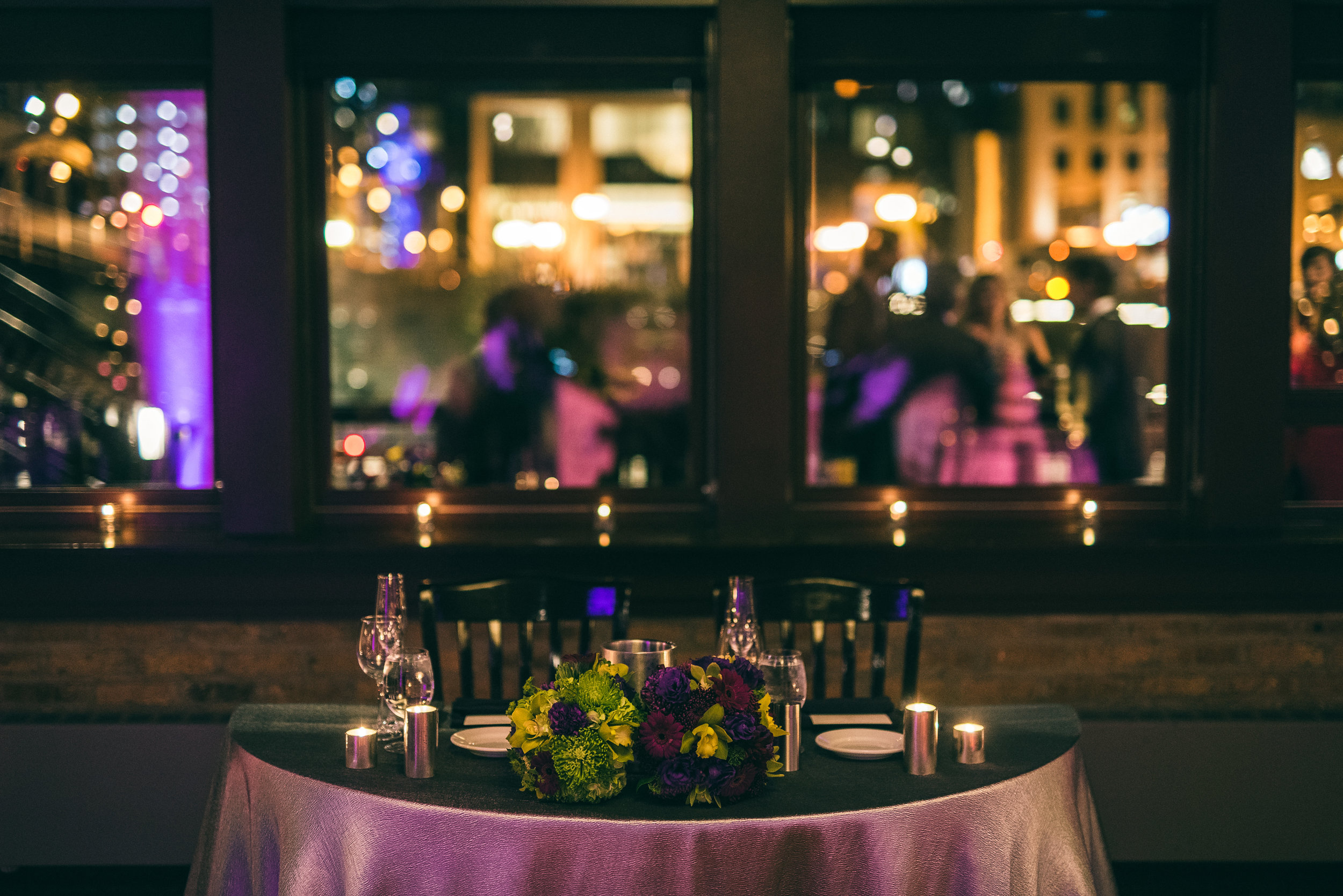 Sweetheart table, Wedding reception at River Roast Social House in Chicago