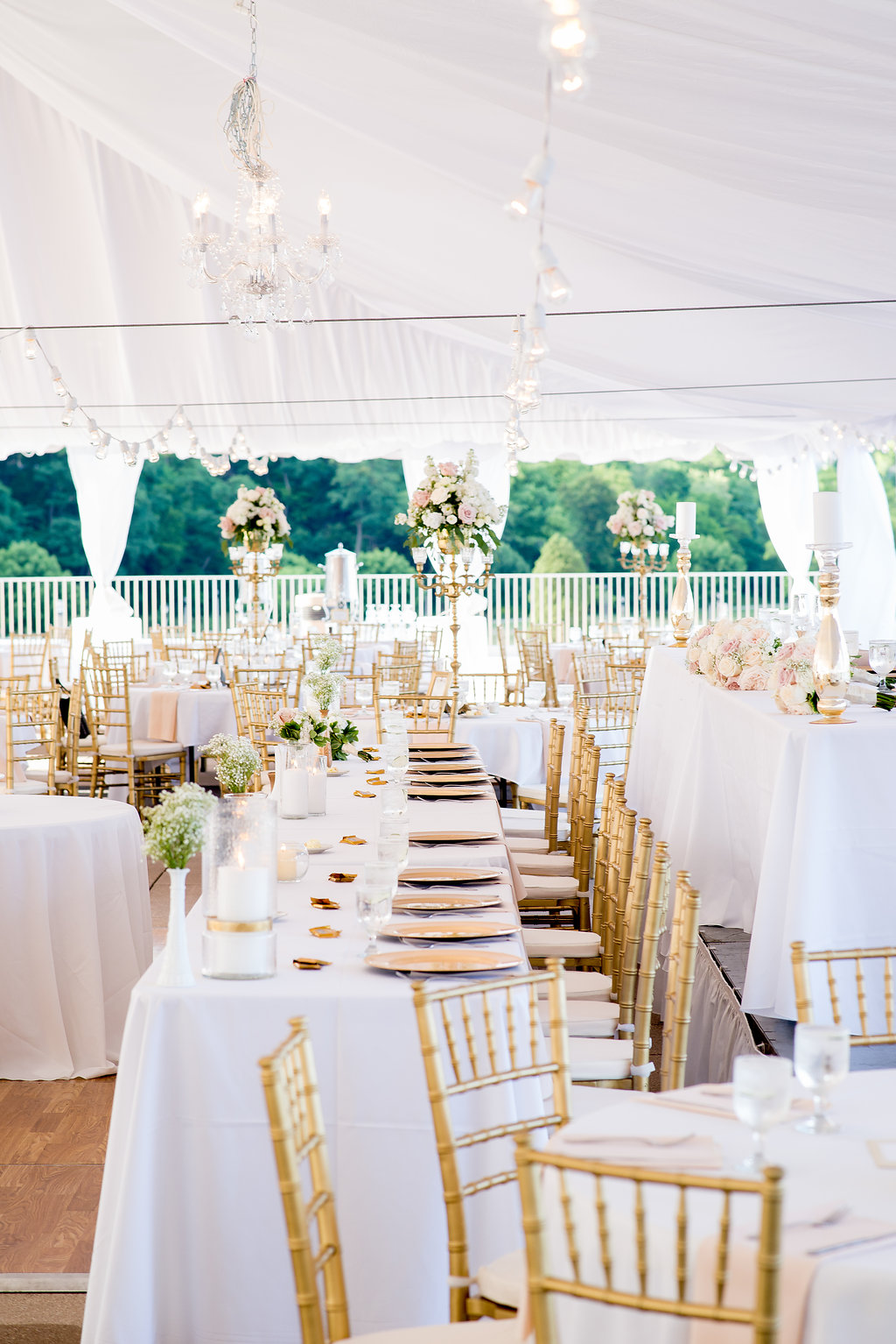 Blush and gold wedding decor, white tented reception at The War Memorial Center, Milwaukee Wisconsin wedding planner