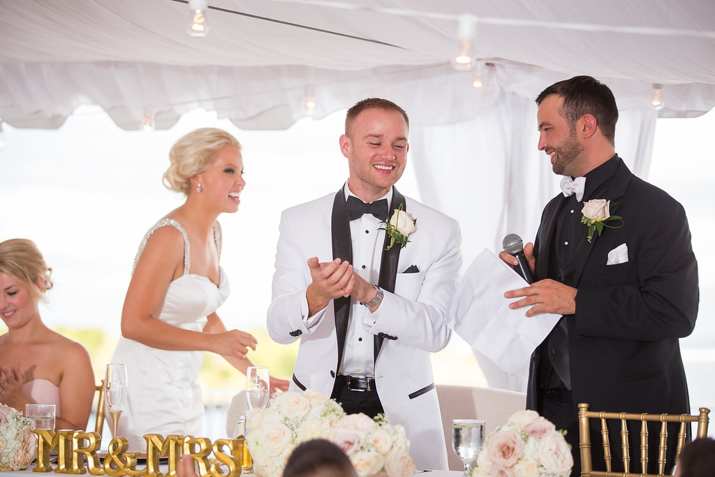 Bride and groom's reaction to best man's toast/ speeches