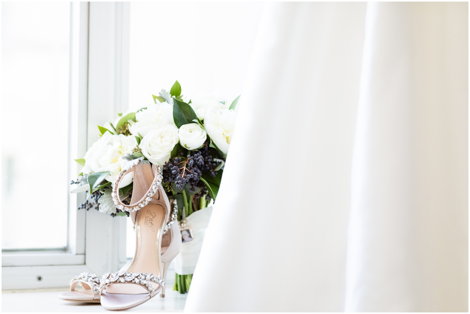 bride's wedding dress and accessories