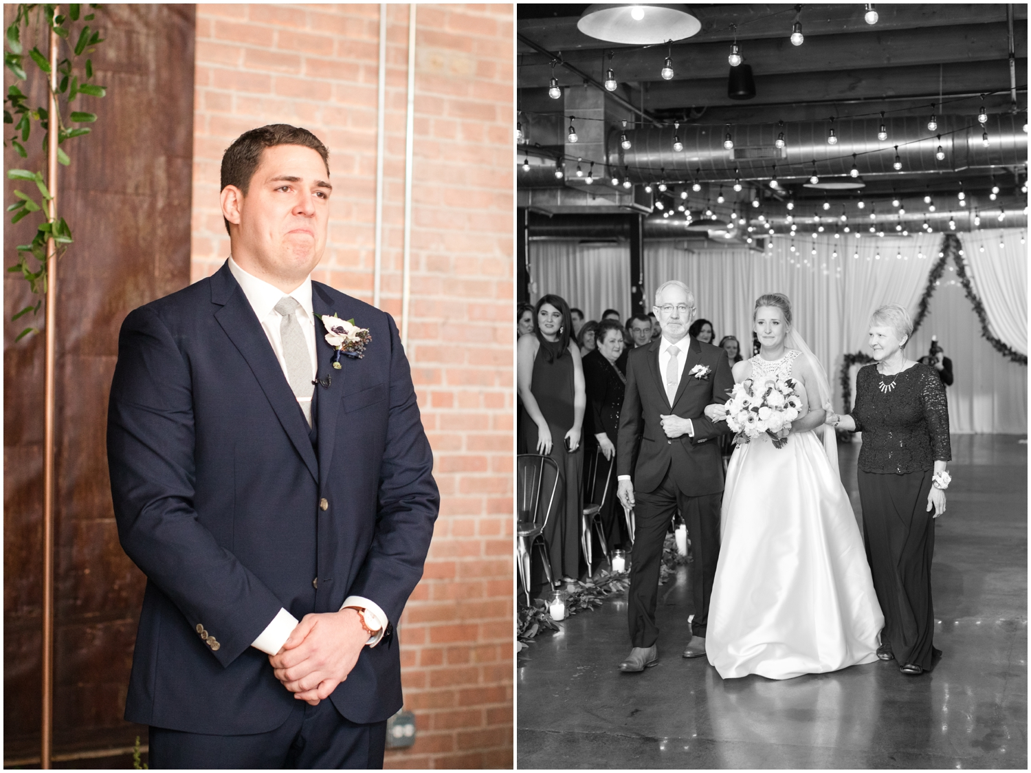 groom gazing at the bride while she walks down the aisle