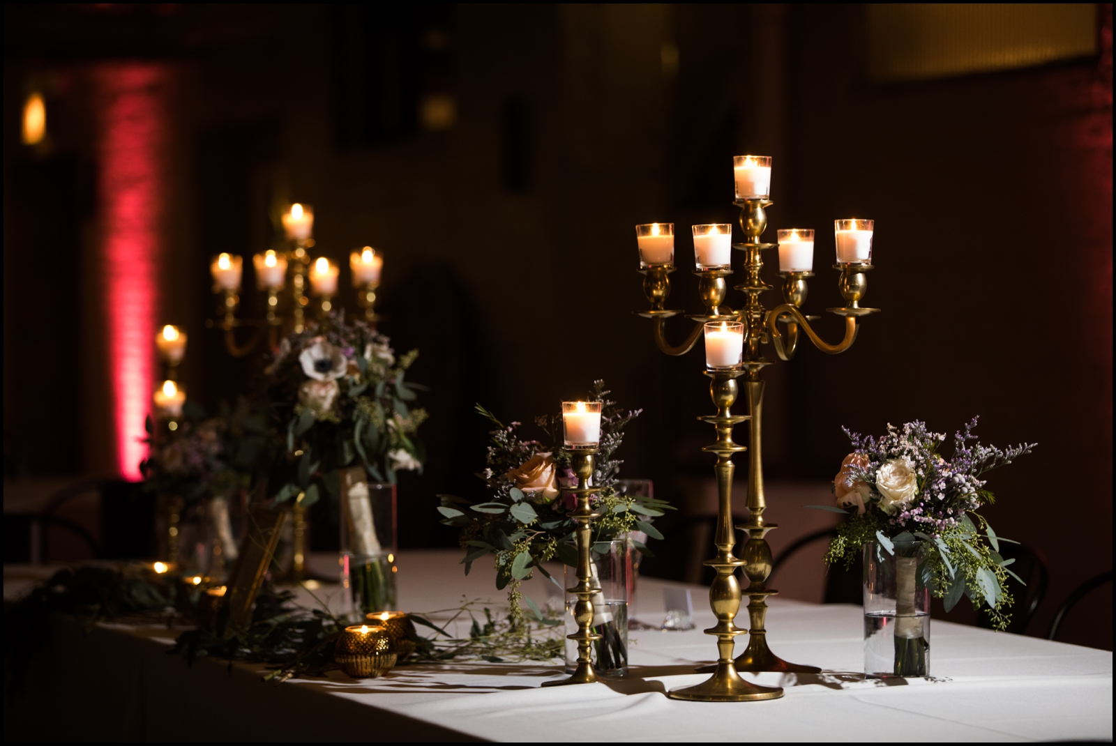 candles and flower wedding centerpiece