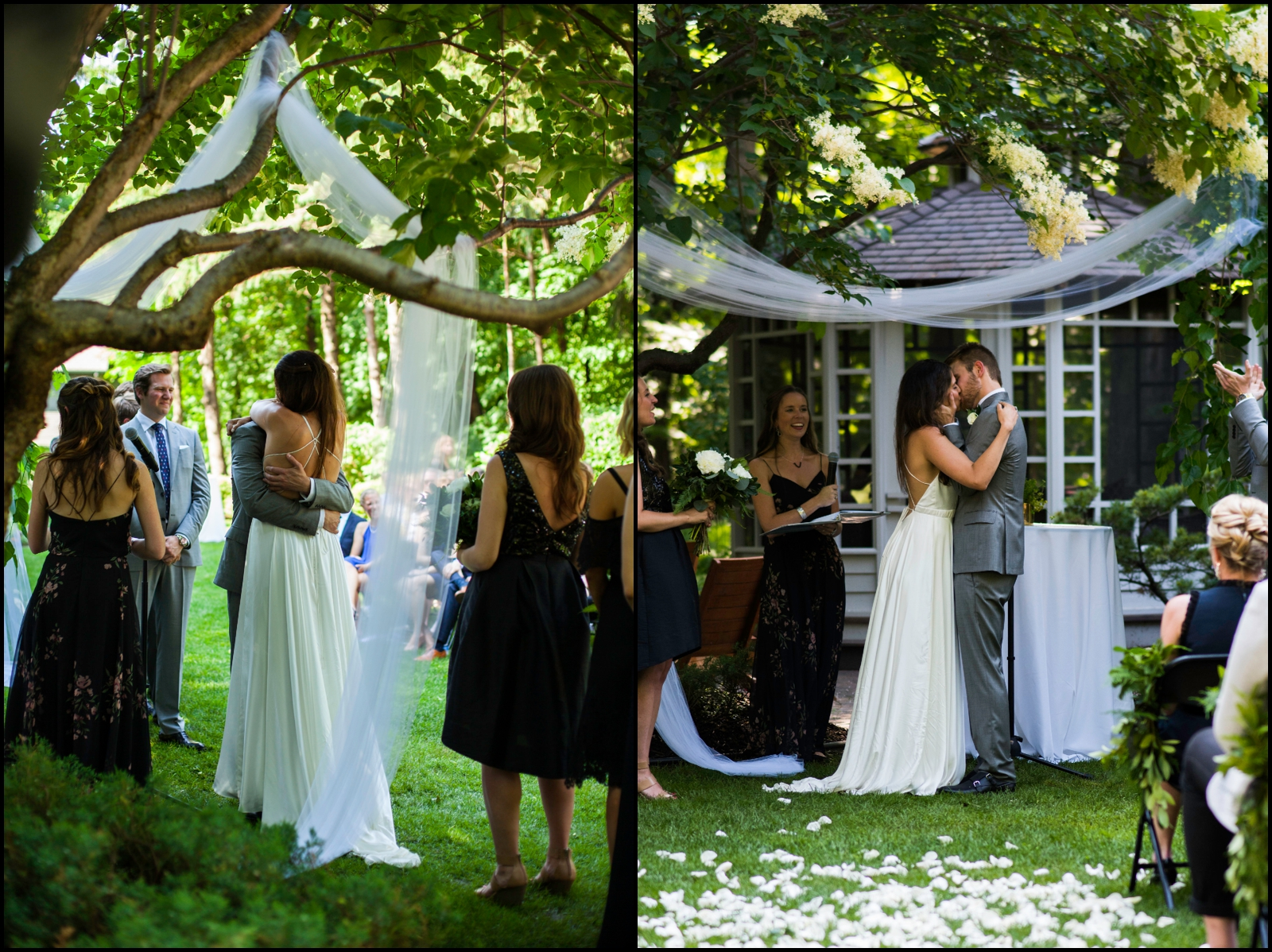 bride and groom at their outdoor wedding ceremony