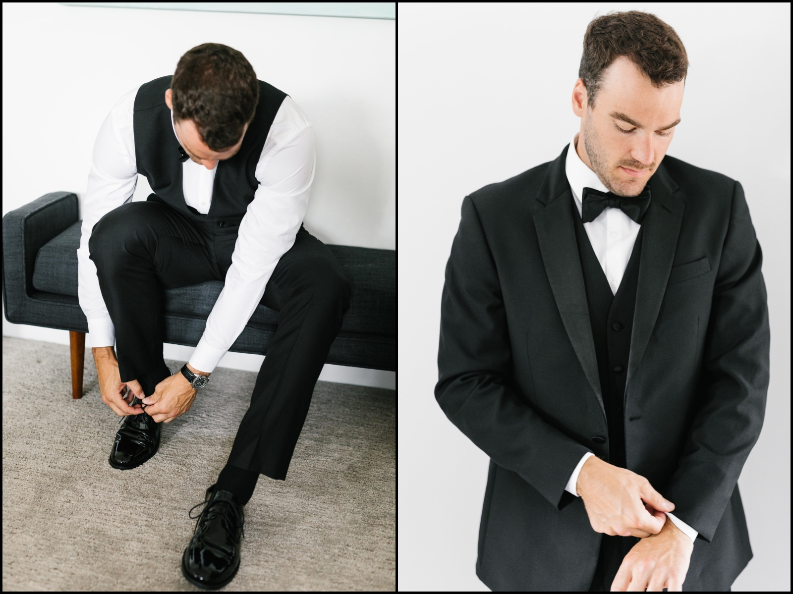 groom getting prepared for his wedding