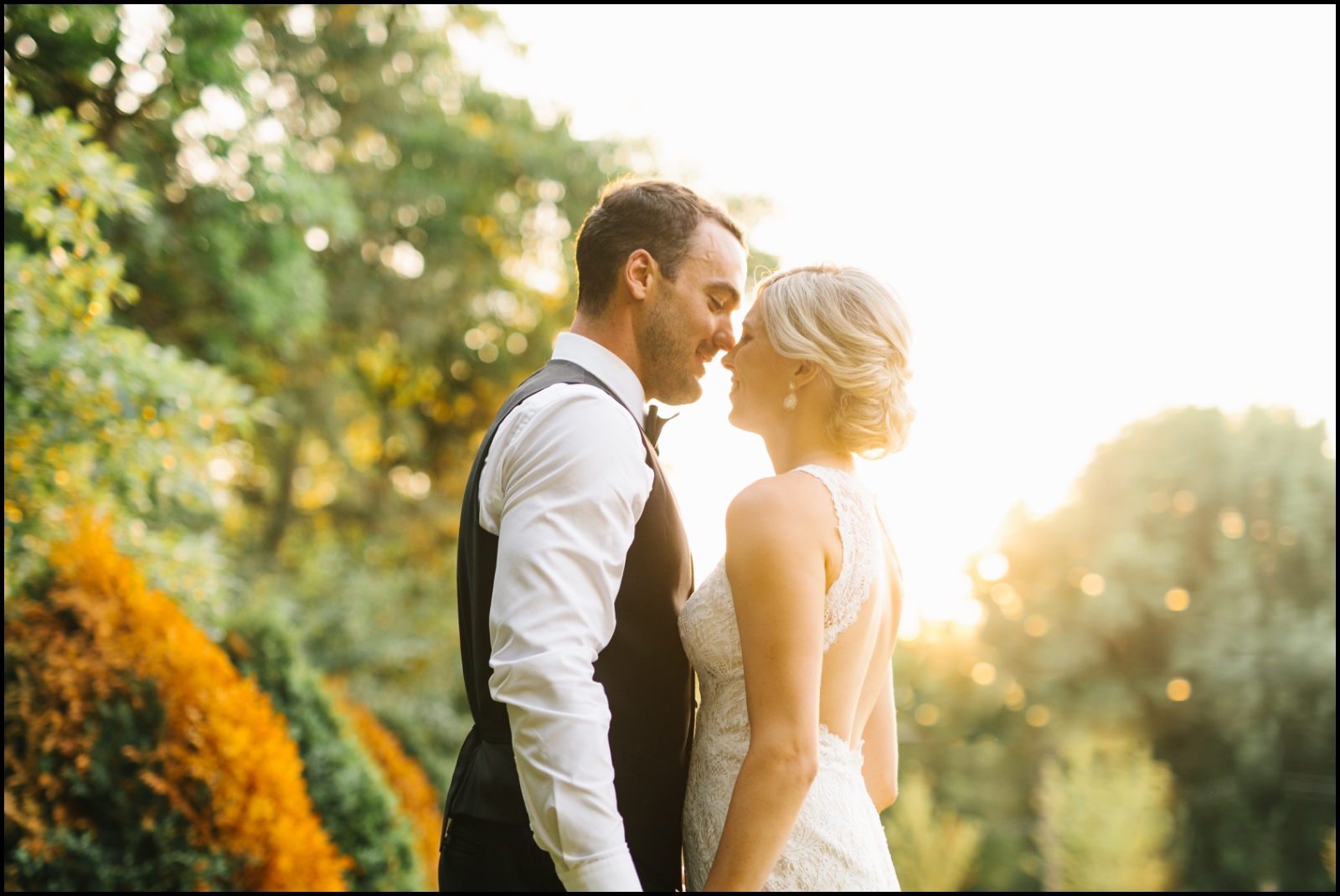 bride and groom in the sunset at Hutton House