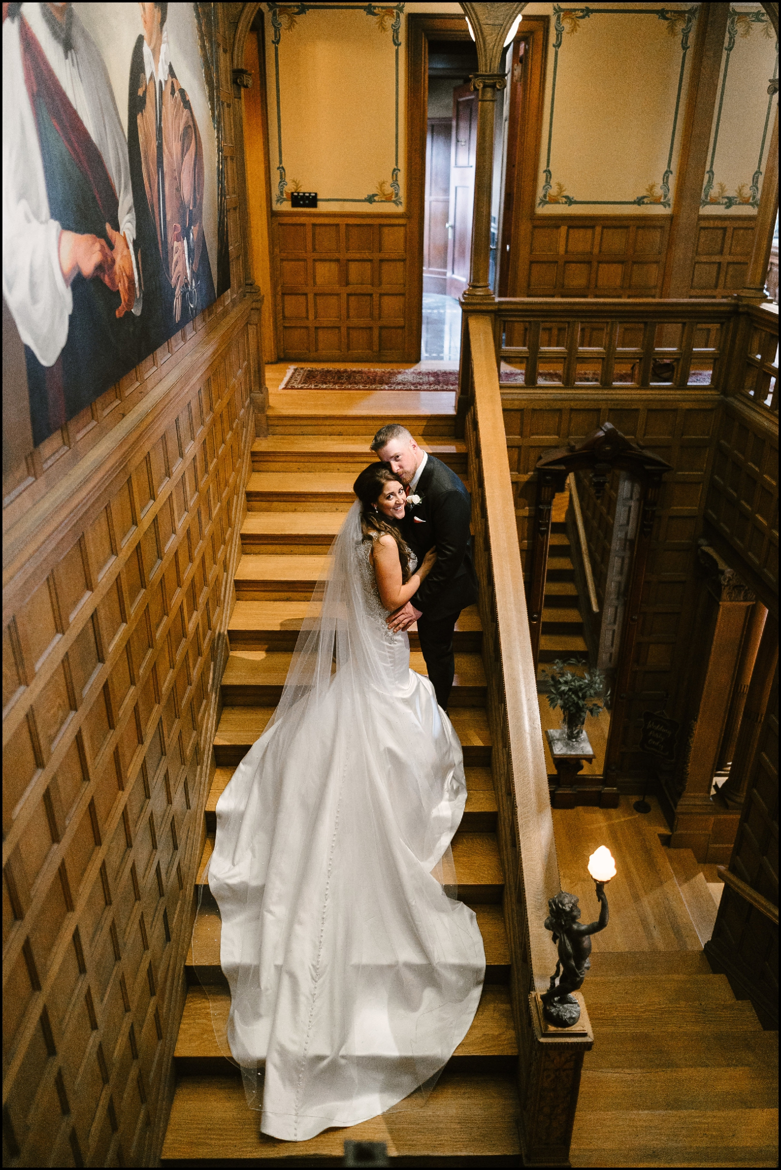 bride and groom at the Van Dusen Mansion