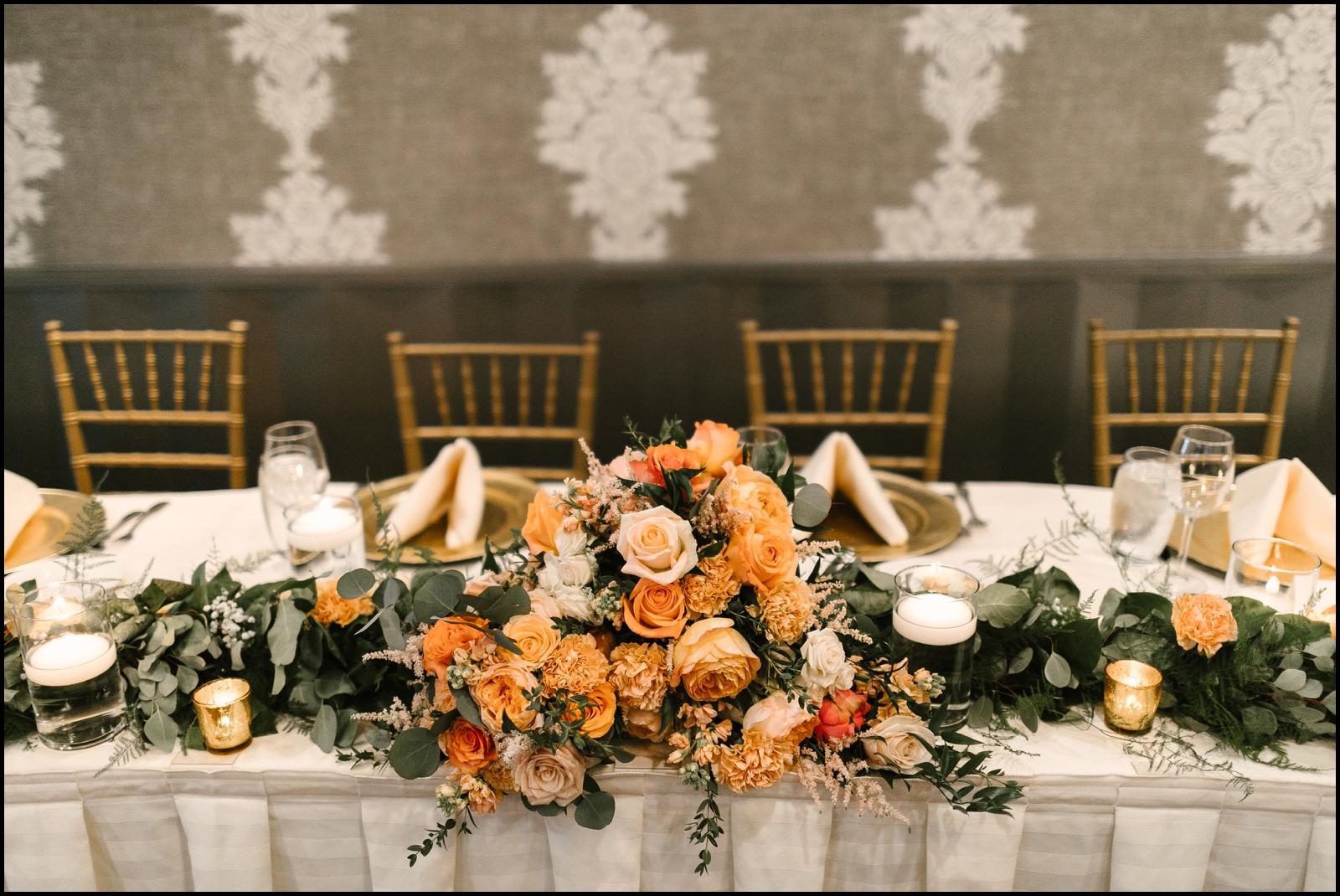 floral wedding table set