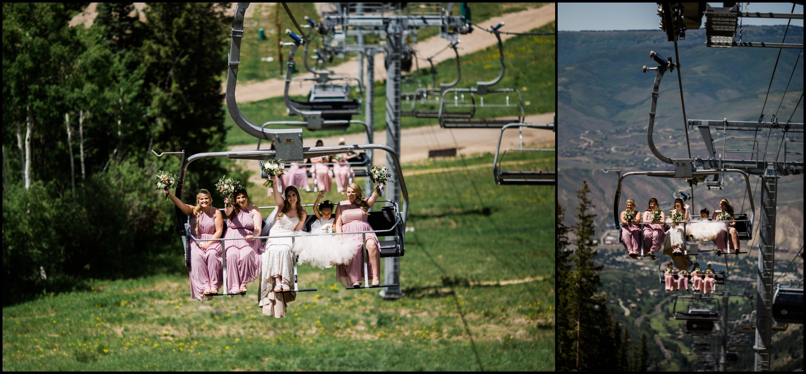 Bridesmaids and bride in Denver
