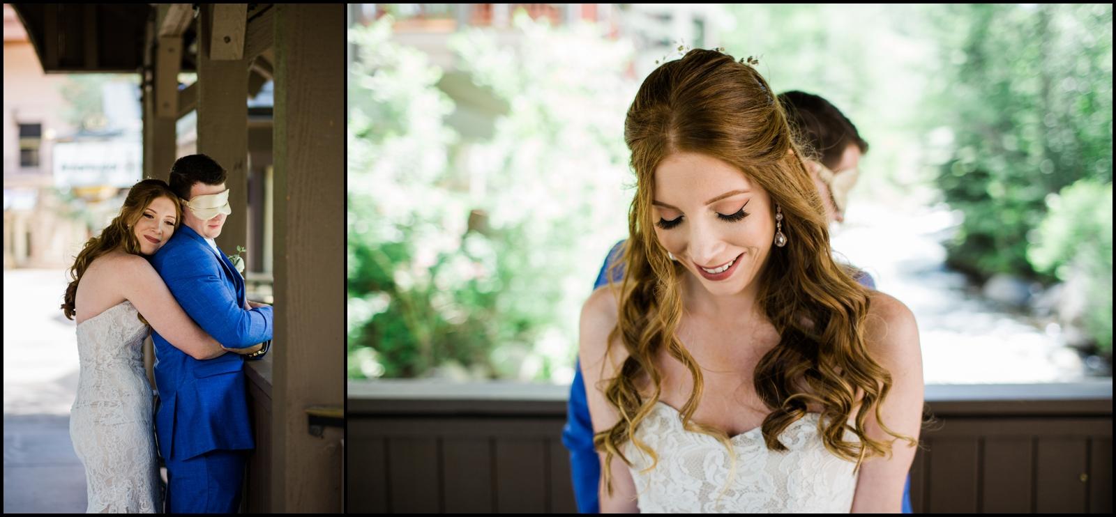 Bride and groom before their wedding in Denver