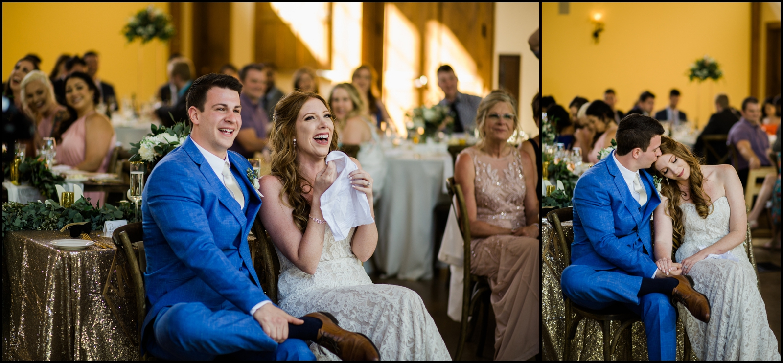Bride and groom during their wedding reception in Denver