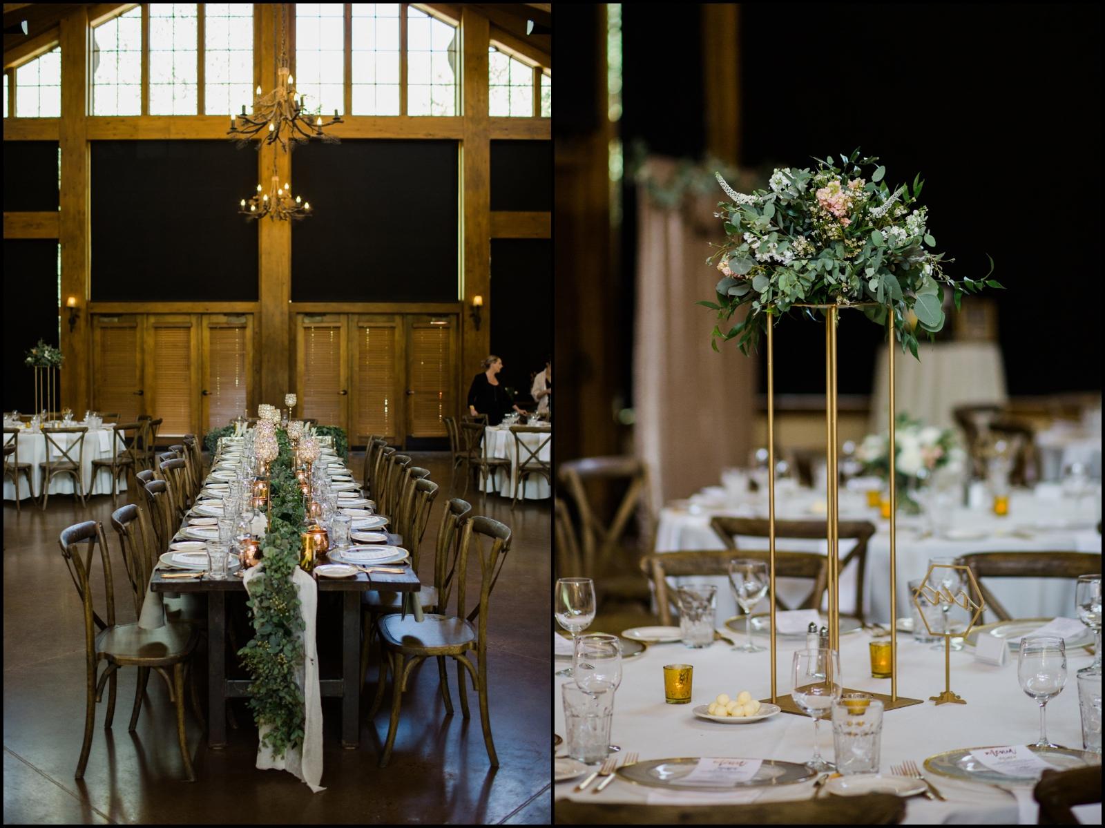 Wedding reception table set