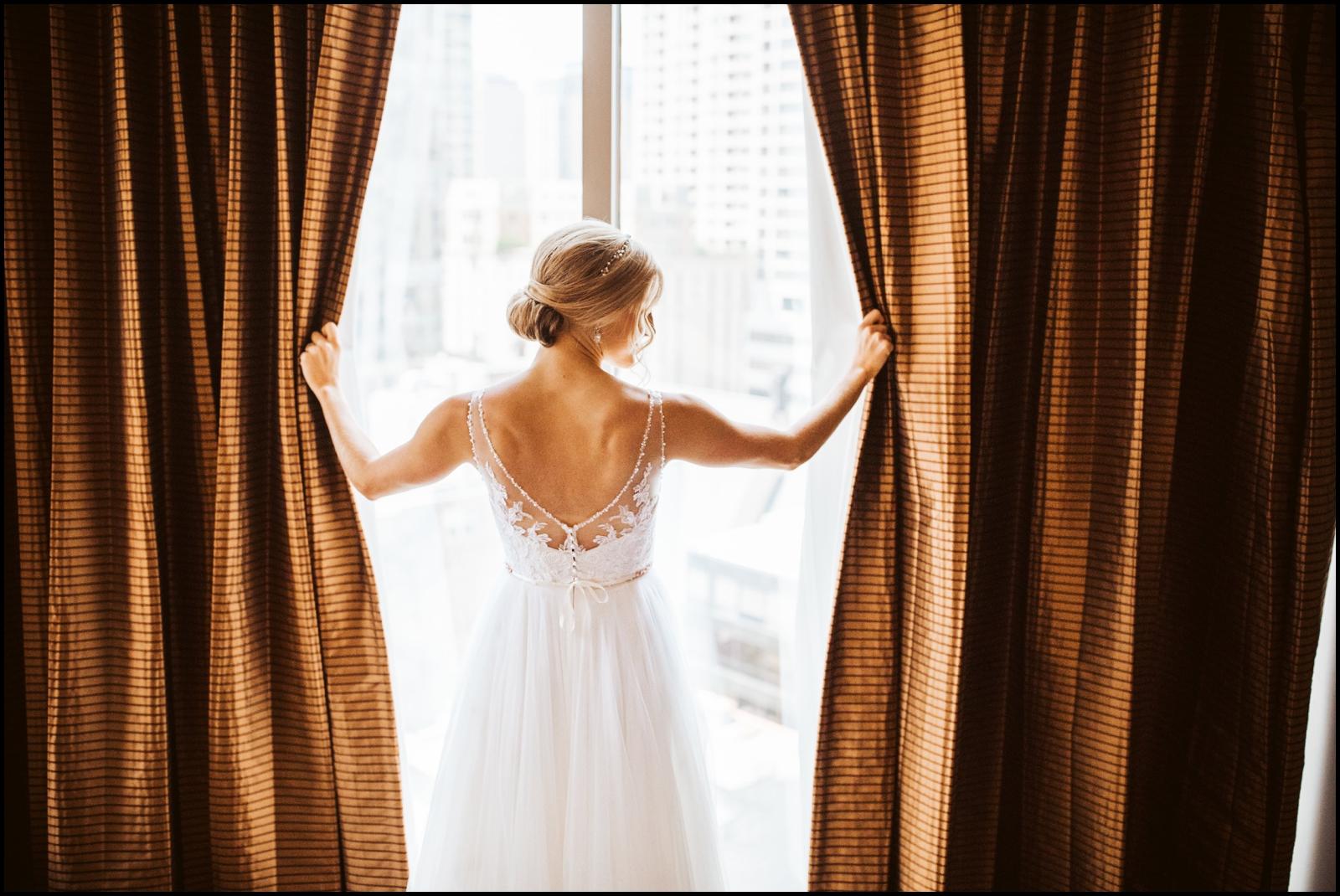 Bride wearing her bridal dress